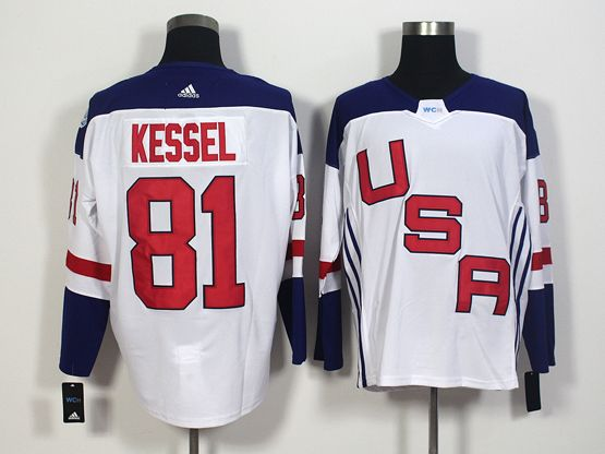 Mens Team Usa #81 Phil Kessel White 2016 World Cup Hockey Jersey