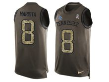 mens nfl tennessee titans #8 marcus mariota Green salute to service limited tank top jersey