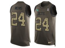 mens men   new york jets #24 darrelle revis Green salute to service limited tank top jersey