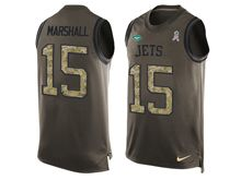mens men   new york jets #15 brandon marshall Green salute to service limited tank top jersey