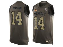 mens nfl cincinnati bengals #14 andy dalton Green salute to service limited tank top jersey