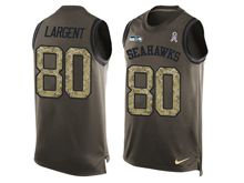 mens nfl seattle seahawks #80 steve largent Green salute to service limited tank top jersey