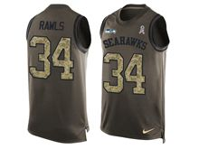 mens nfl seattle seahawks #34 thomas rawls Green salute to service limited tank top jersey
