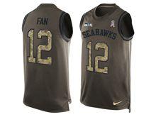 mens nfl seattle seahawks #12 fan Green salute to service limited tank top jersey