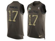 mens nfl miami dolphins #17 ryan tannehill Green salute to service limited tank top jersey