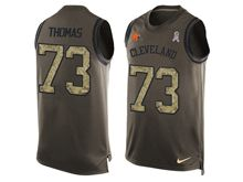 mens nfl cleveland browns #73 joe thomas Green salute to service limited tank top jersey