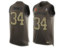 mens nfl cleveland browns #34 isaiah crowell Green salute to service limited tank top jersey