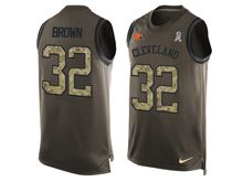 mens nfl cleveland browns #32 jim brown Green salute to service limited tank top jersey