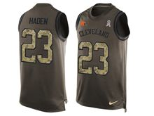 mens nfl cleveland browns #23 joe haden Green salute to service limited tank top jersey