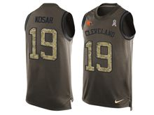 mens nfl cleveland browns #19 bernie kosar Green salute to service limited tank top jersey(sn)