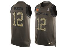 mens nfl cleveland browns #12 josh gordon Green salute to service limited tank top jersey
