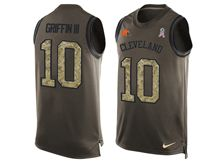 mens nfl cleveland browns #10 robert griffin iii Green salute to service limited tank top jersey