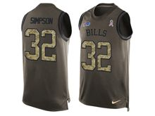 mens nfl buffalo bills #32 o.j. simpson Green salute to service limited tank top jersey