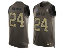 mens nfl buffalo bills #24 stephon gilmore Green salute to service limited tank top jersey