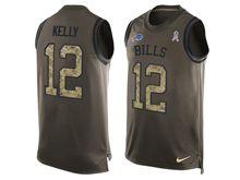 mens nfl buffalo bills #12 jim kelly Green salute to service limited tank top jersey