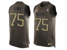 mens nfl chicago bears #75 kyle long Green salute to service limited tank top jersey