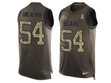 mens nfl chicago bears #54 brian urlacher Green salute to service limited tank top jersey
