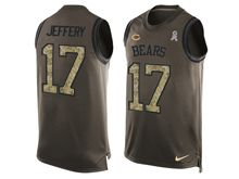 mens nfl chicago bears #17 alshon jeffery Green salute to service limited tank top jersey
