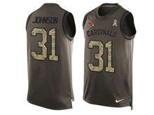 mens nfl arizona cardinals #31 david johnson Green salute to service limited tank top jersey