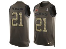 mens nfl arizona cardinals #21 patrick peterson Green salute to service limited tank top jersey