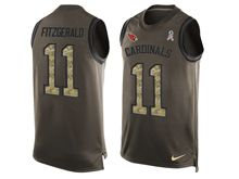 mens nfl arizona cardinals #11 larry fitzgerald Green salute to service limited tank top jersey