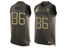 mens nfl washington redskins #86 jordan reed Green salute to service limited tank top jersey