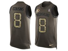 mens nfl washington redskins #8 kirk cousins Green salute to service limited tank top jersey
