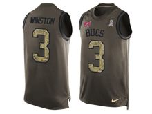 mens nfl tampa bay buccaneers #3 jameis winston Green salute to service limited tank top jersey