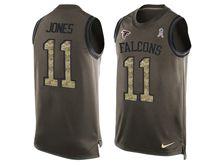 mens nfl atlanta falcons #11 julio jones Green salute to service limited tank top jersey