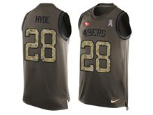 mens nfl san francisco 49ers #28 carlos hyde Green salute to service limited tank top jersey
