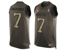 mens nfl san francisco 49ers #7 colin kaepernick Green salute to service limited tank top jersey
