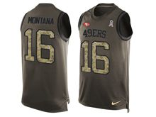 mens nfl san francisco 49ers #16 joe montana Green salute to service limited tank top jersey