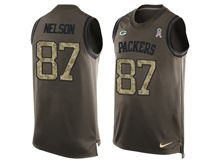 mens nfl green bay packers #87 jordy nelson Green salute to service limited tank top jersey