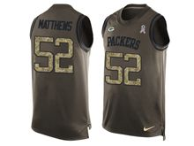 mens nfl green bay packers #52 clay matthews Green salute to service limited tank top jersey