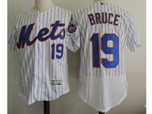 mens majestic new york mets #19 jay bruce white stripe Flex Base jersey