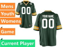 Mens Women Youth Green Bay Packers Green Game Jersey