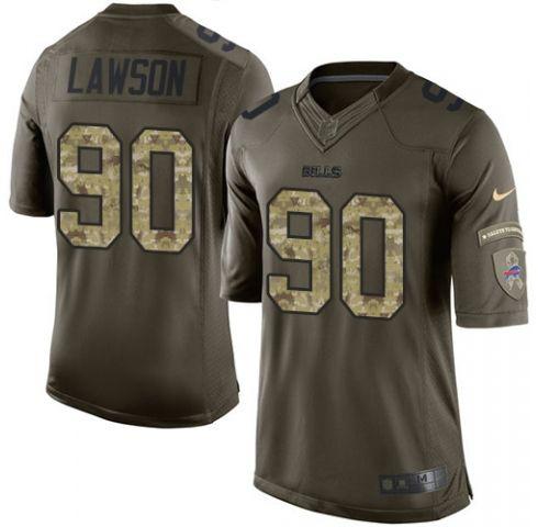 Mens   Nfl Buffalo Bills #90 Shaq Lawson Green Salute To Service Limited Jersey