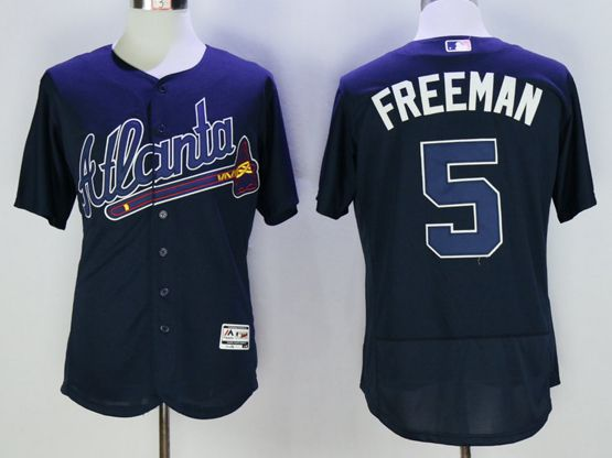 mens majestic atlanta braves #5 freddie freeman navy blue Flex Base jersey
