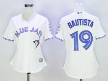 Women Majestic Toronto Blue Jays #19 Jose Bautista White Jersey