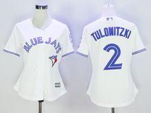 Women Majestic Toronto Blue Jays #2 Troy Tulowitzki White Jersey
