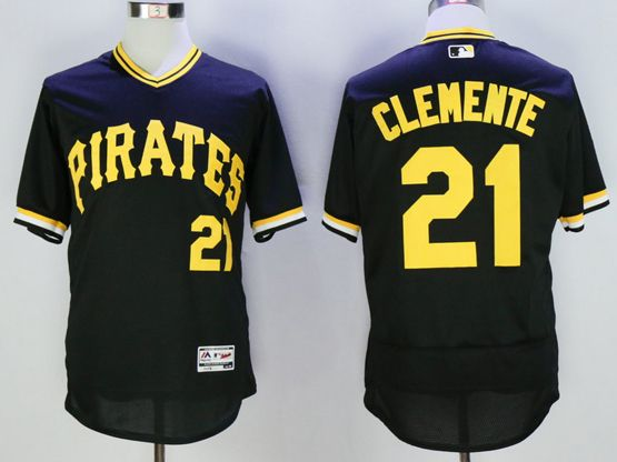 mens majestic pittsburgh pirates #21 roberto clemente black pullover Flex Base jersey