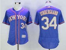mens majestic new york mets #34 noah syndergaard blue (orange) Flex Base jersey