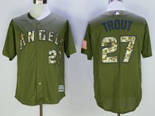 Mens Mlb Los Angeles Angels #27 Mike Trout Green Fashion 2016 Memorial Day Jersey