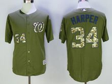 Mens Mlb Washington Nationals #34 Bryce Harper Green Fashion 2016 Memorial Day Jersey