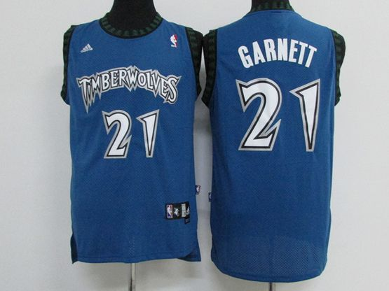 Mens Nba Minnesota Timberwolves #21 Kevin Garnett Light Blue Throwbacks Jersey