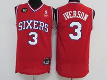Mens Nba Philadelphia 76ers #3 Allen Iverson Red 10th Anniversary Jersey