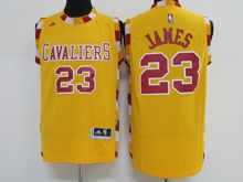 Mens Adidas Cleveland Cavaliers #23 Lebron James Yellow New Jersey