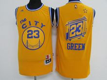Mens Adidas Golden State Warriors #23 Draymond Green Yellow Hardwood Classics Swingman Jersey