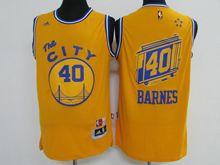 Mens Adidas Golden State Warriors #40 Harrison Barnes Yellow Hardwood Classics Swingman Jersey