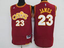 Mens Adidas Cleveland Cavaliers #23 Lebron James Purplish Red Throwbacks Jersey